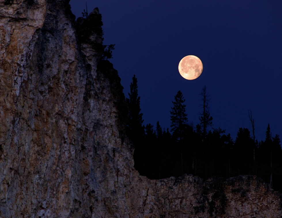 Harvest Moon Over Artist's Point (Yellowstone, WY)